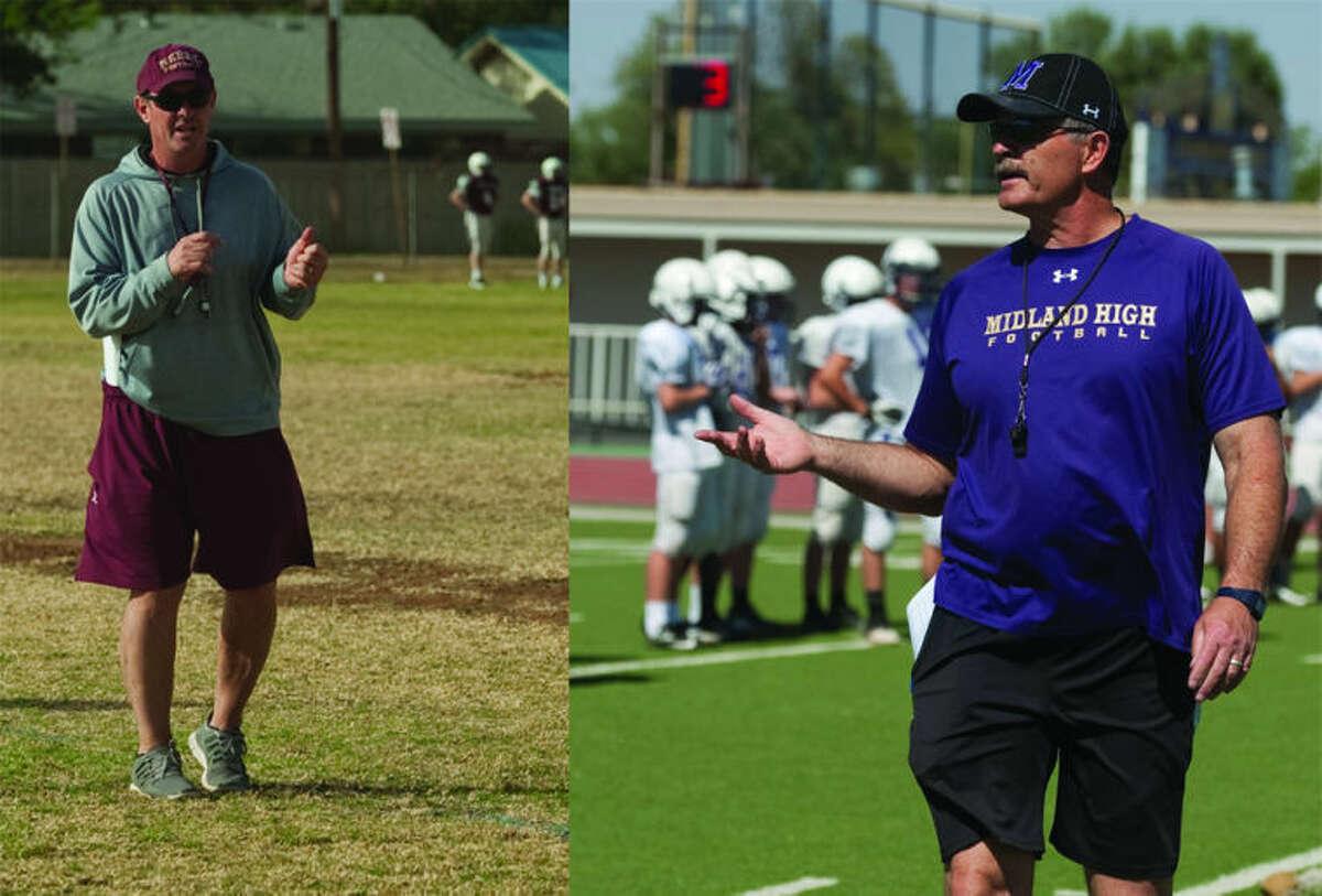Lee head football coach James Morton, left, and Midland High head football coach Craig Yenzer, right.
