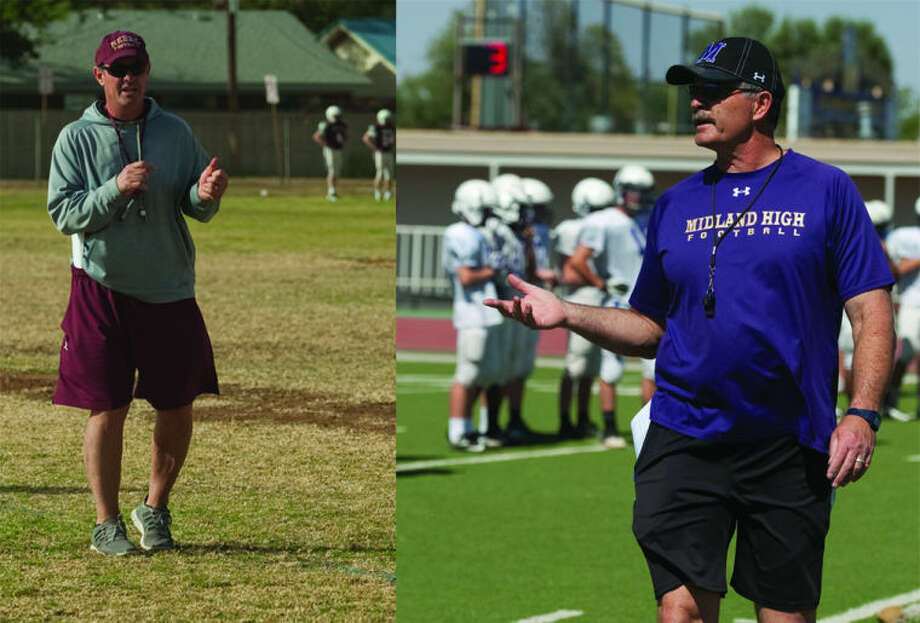 Lee head football coach James Morton, left, and Midland High head football coach Craig Yenzer, right.