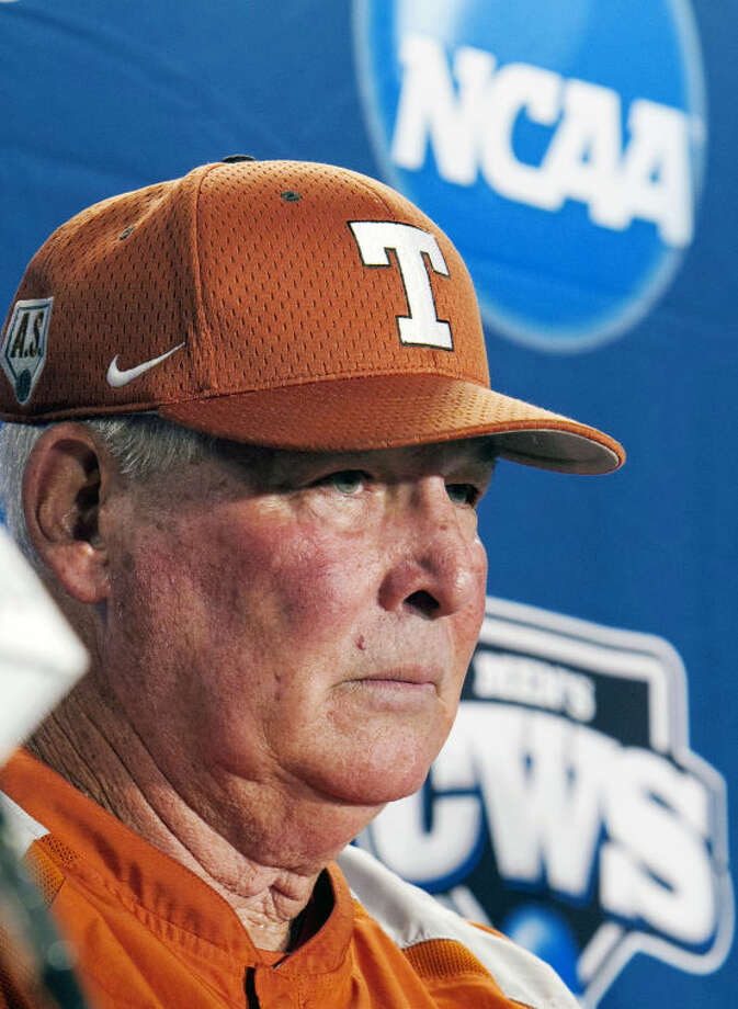 In this June 17, 2011, file photo, Texas coach Augie Garrido takes a question during an NCAA college baseball news conference at TD Ameritrade Park in Omaha, Neb. ahead of the NCAA College World Series. (AP Photo/Nati Harnik, File) Photo: Nati Harnik