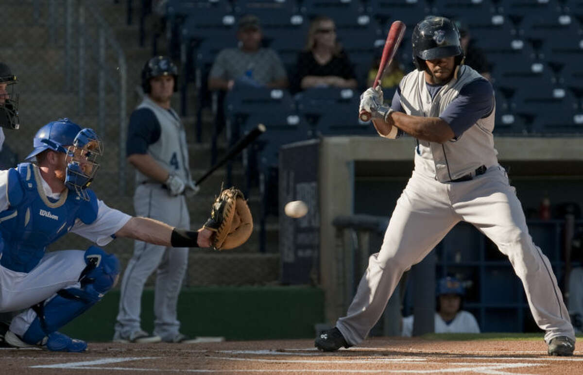 Corpus Christi Hooks Delino DeShields, Jr. takes an at bat Wednesday against the RockHounds at Security Bank Ballpark. Tim Fischer\Reporter-Telegram