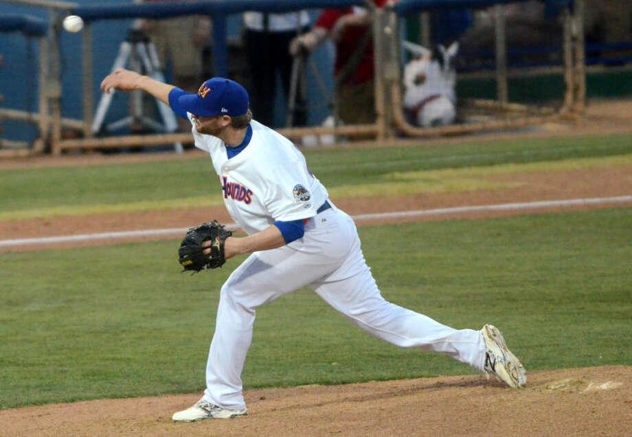 Rockhounds' Nate Long pitches against the Arkansas Travelers on Thursday at Security Bank Ballpark. James Durbin/Reporter-Telegram Photo: James Durbin