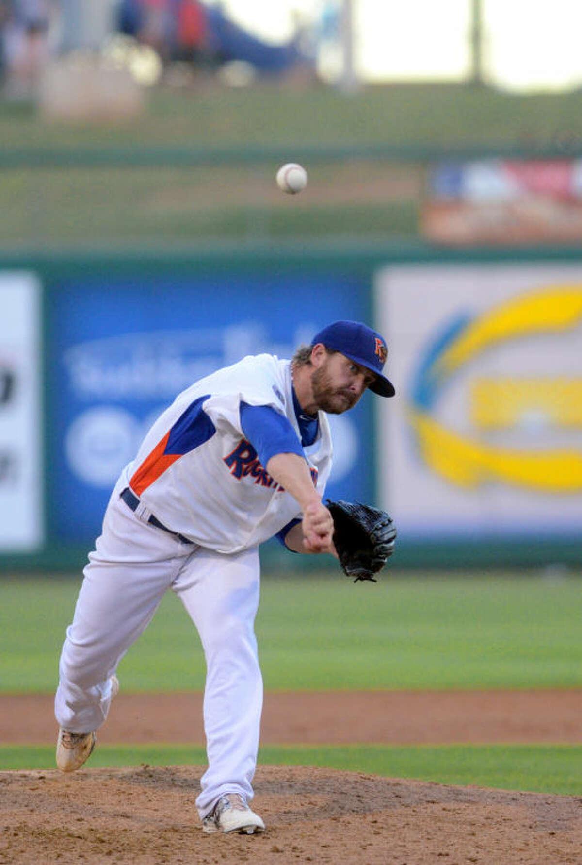 Rockhounds pitcher Nate Long throws against Corpus Christi on June 9 at Security Bank Ballpark. James Durbin/Reporter-Telegram