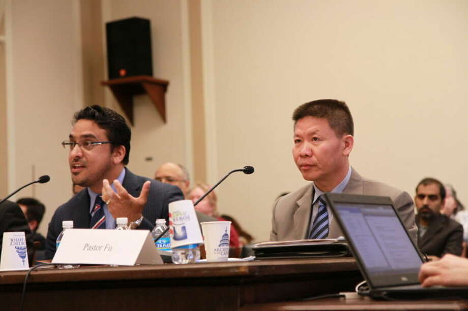 Bob Fu, founder and president of China Aid, testifies before Congress recently about the deteriorating situation on religious freedom in China. Photo: Courtesy Photo