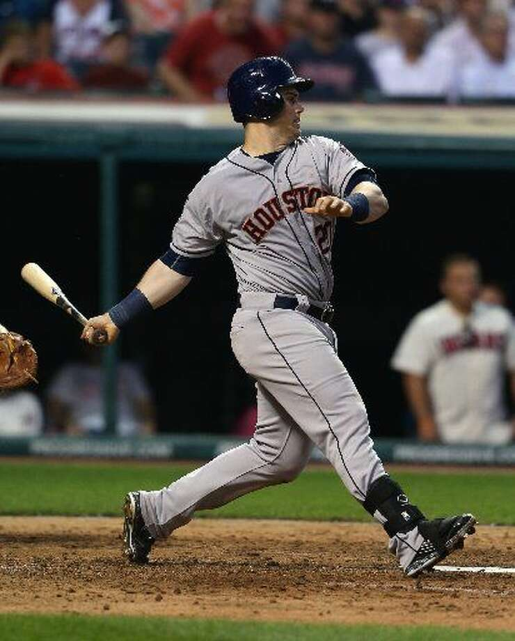 Houston Astros left fielder Preston Tucker hits an RBI single off Cleveland Indians relief pitcher Austin Adams during the sixth inning of a baseball game, Monday, July 6, 2015, in Cleveland. (AP Photo/Ron Schwane) Photo: Ron Schwane/AP
