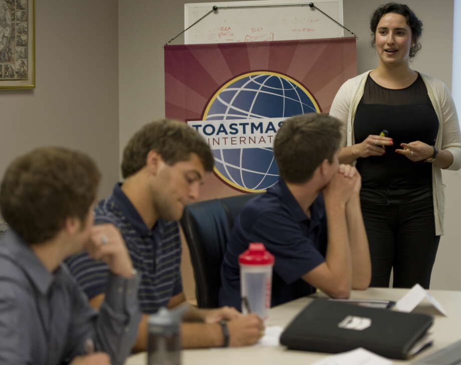 Ilana Slutsky, Chevron intern, gives a speach Thursday 7-23-15, during the Tall City Toastmasters meeting at Chevron. Toastmasters help people learn to be good at giving talks and presentations. Tim Fischer\Reporter-Telegram Photo: Tim Fischer