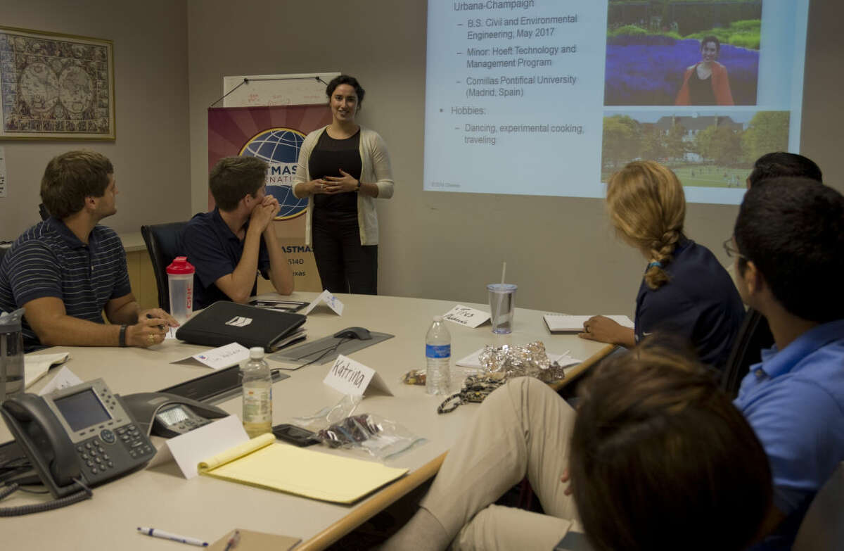 Ilana Slutsky, Chevron intern, gives a speach Thursday 7-23-15, during the Tall City Toastmasters meeting at Chevron. Toastmasters help people learn to be good at giving talks and presentations. Tim Fischer\Reporter-Telegram