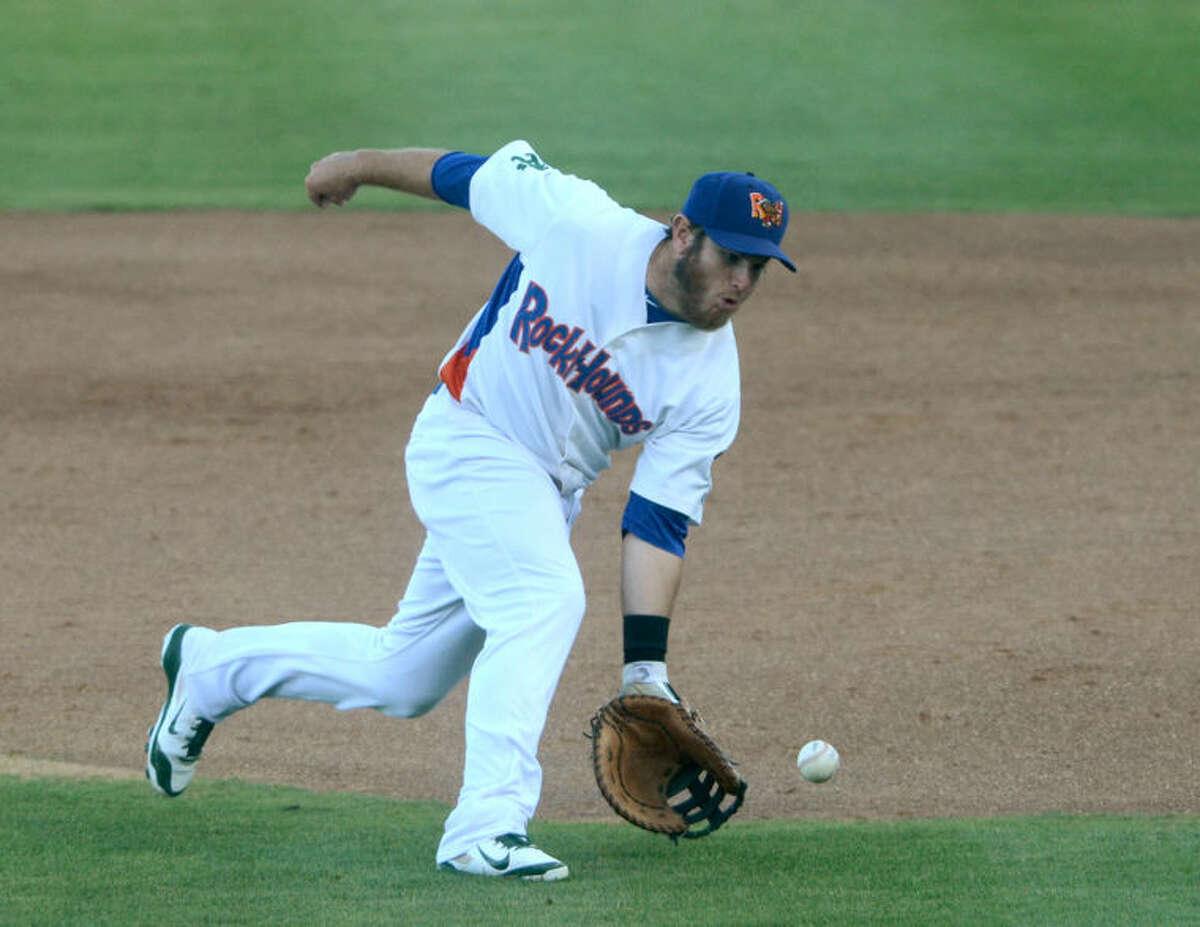 RockHounds first baseman Max Muncy fields the ball against Corpus Christi on June 3 at Security Bank Ballpark. James Durbin/Reporter-Telegram