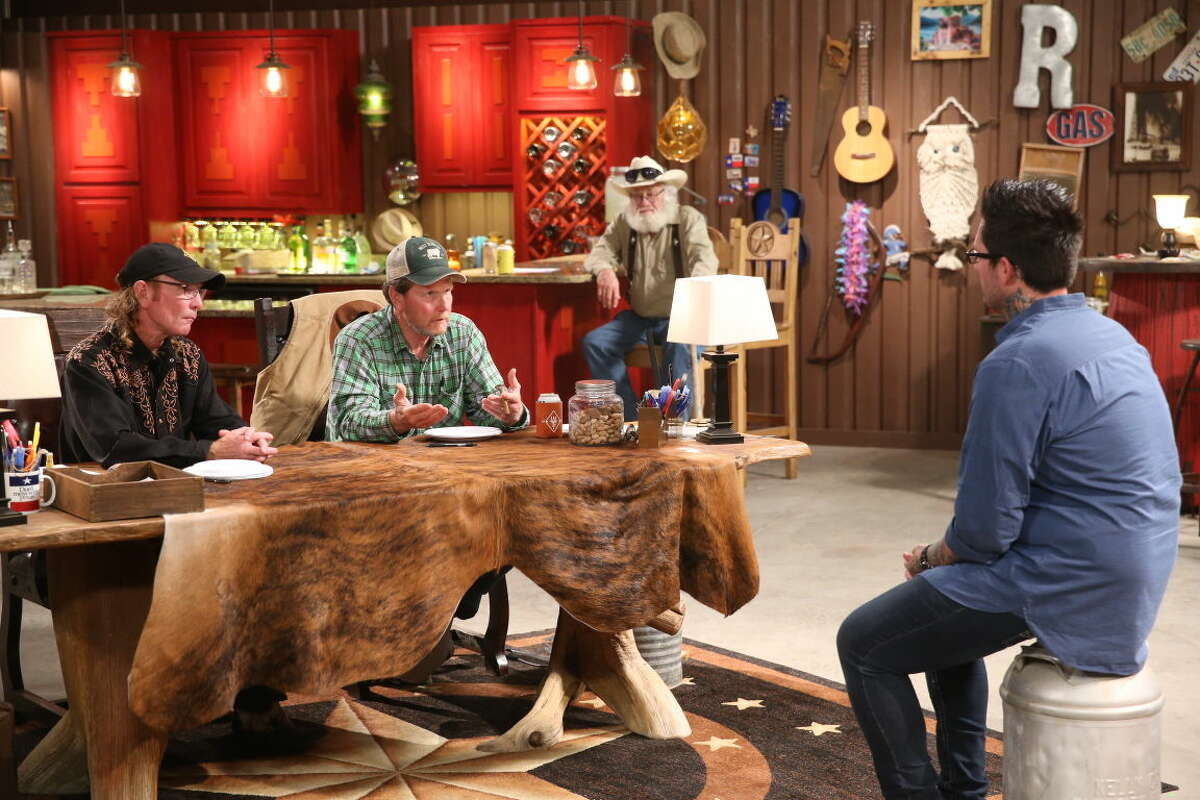 """Odessa native Butch Gilliam, left, and Midlander Rooster McConaughey are on the set of """"West Texas Investors Club."""" In the background is their friend, Gil Prater. (Photo by: Jesse Grant/CNBC)"""