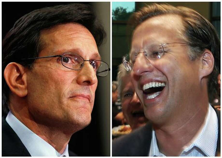 In this combination of Associated Press photos, House Majority Leader Eric Cantor, R-Va., left, and Dave Brat, right, react after the polls close Tuesday, June 10, 2014, in Richmond, Va. Tea party challenger Brat defeated Cantor in a stunning upset in a Republican primary election, denying the second-most powerful man in the U.S. House of Representatives a place on the November ballot and riding a wave of conservative anger over calls to loosen immigration laws. (AP Photo) Photo: STF / AP
