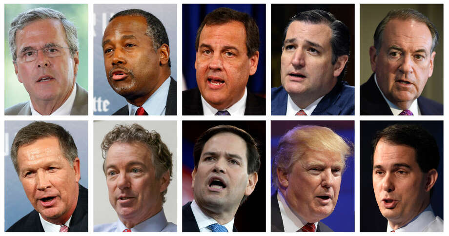 This combination of photos, from top left, shows Republican presidential candidates Jeb Bush, Ben Carson, Chris Christie, Ted Cruz, Mike Huckabee and from bottom left, John Kasich, Rand Paul, Marco Rubio, Donald Trump and Scott Walker. The candidates are scheduled to participate in a Fox News Channel Republican presidential debate on Thursday, Aug. 6, 2015. (AP Photos/File) Photo: STF
