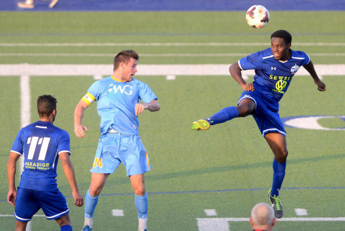 Sockers FC's Conrod Goulbourne goes up for the ball during the match against Mississippi on Thursday at Grande Communications Stadium. James Durbin/Reporter-Telegram