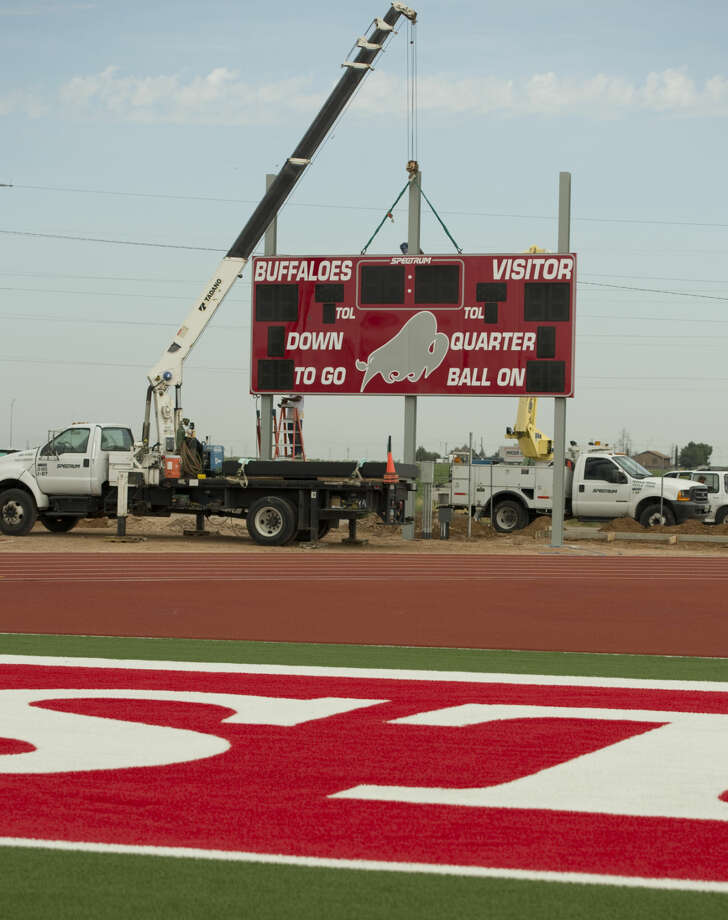 Stanton's new stadium continues to come together Tuesday as the new scoreboard is installed. Tim Fischer\Reporter-Telegram Photo: Tim Fischer