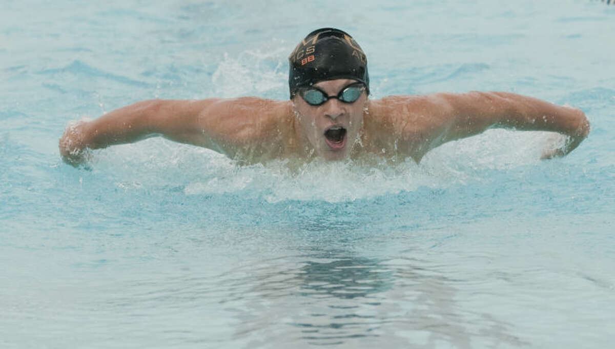 Braden Vines with COM swims the 200 m butterfly Friday at the Frost Bank Invite at Doug Russell Pool. Tim Fischer\Reporter-Telegram