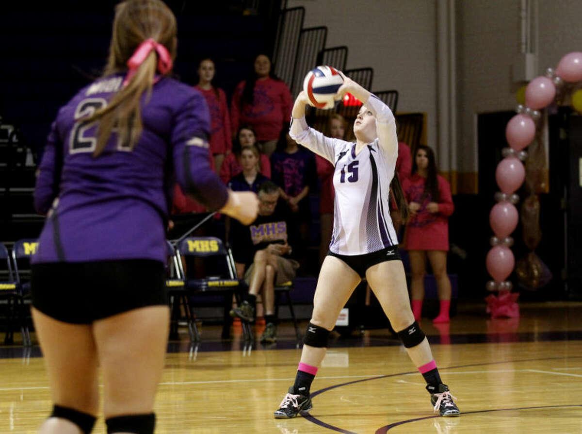 Midland High's Emily Wickman (15) sets the ball during the game against Lubbock Coronado last season. James Durbin/Reporter-Telegram