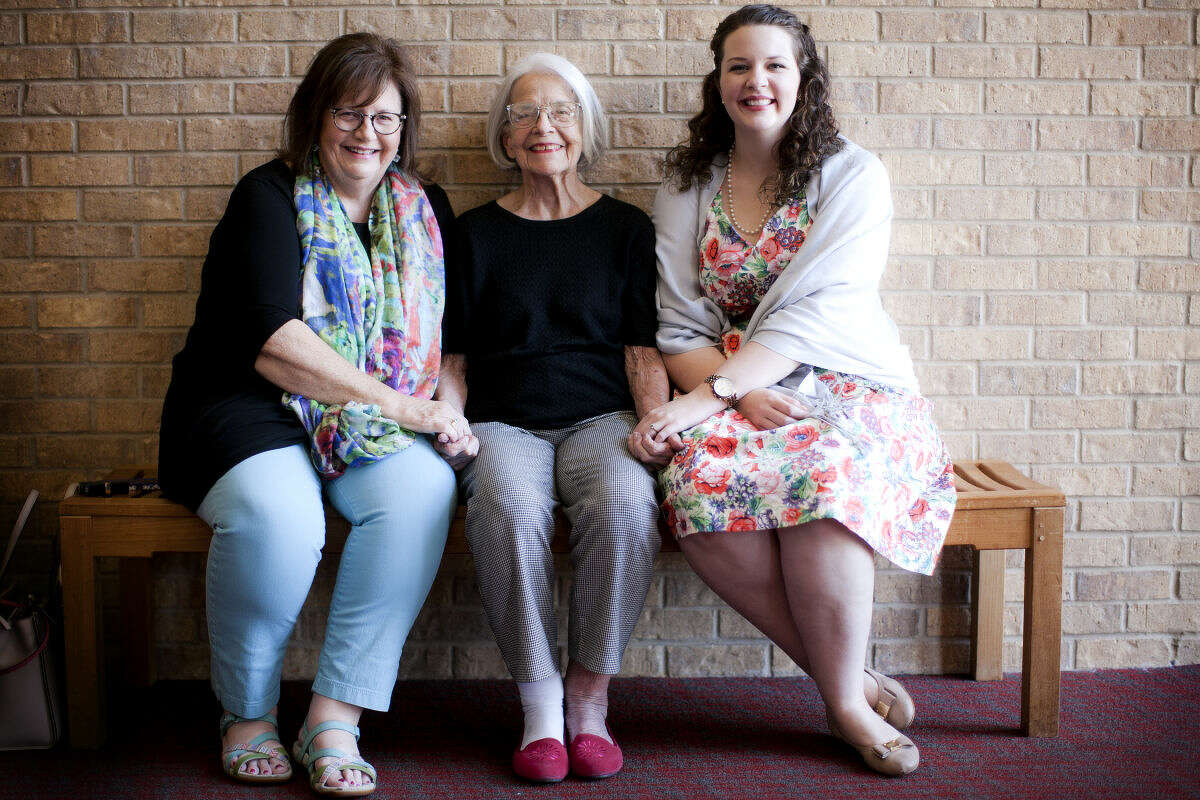 From left, Susie Anderson, Kathryn Tyra, and Abby Anderson pose for a photo Thursday, August 13, 2015 in the lobby of Midland Community Theater. The women represent three generations of the same family who have made contributions to the community. James Durbin/Reporter-Telegram