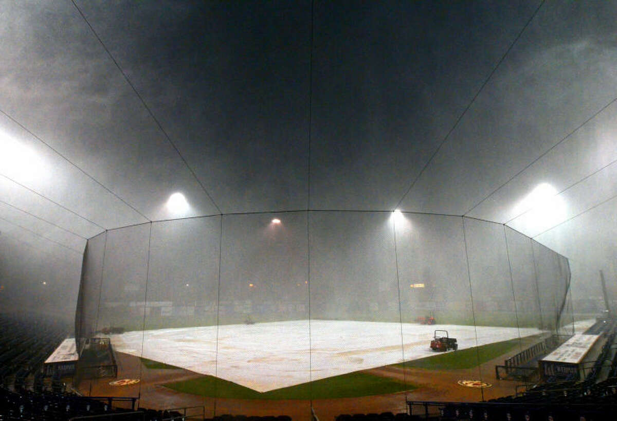A thunderstorm restricts visibility at Security Bank Ballpark after the game against Frisco was cancelled on Wednesday. James Durbin/Reporter-Telegram
