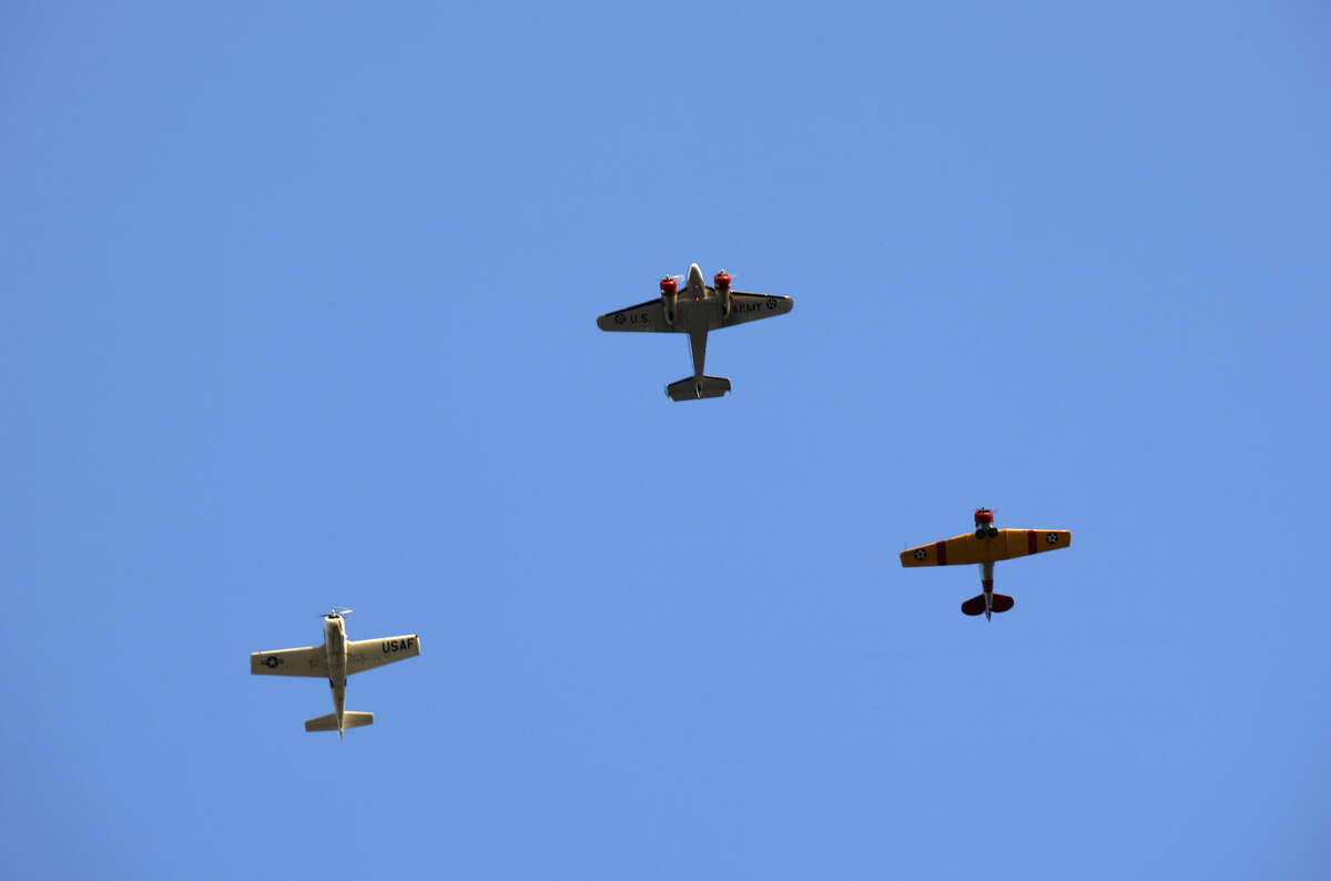 Members of the CAF do a flyover during the Star Spangled Salute on Saturday, July 4, 2015 at Hogan Park. James Durbin/Reporter-Telegram