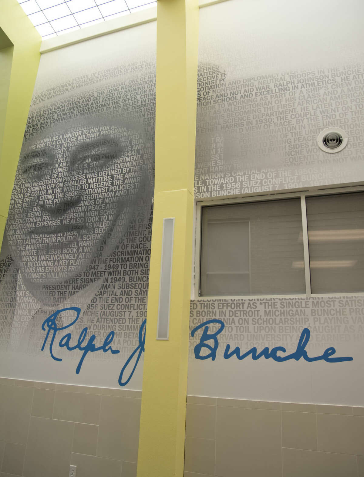 Ralph J Bunche, the school namesake, has an image and facts about him on the main hallway wall seen Thursday 8-13-2015 at Bunche Elementary. Tim Fischer\Reporter-Telegram