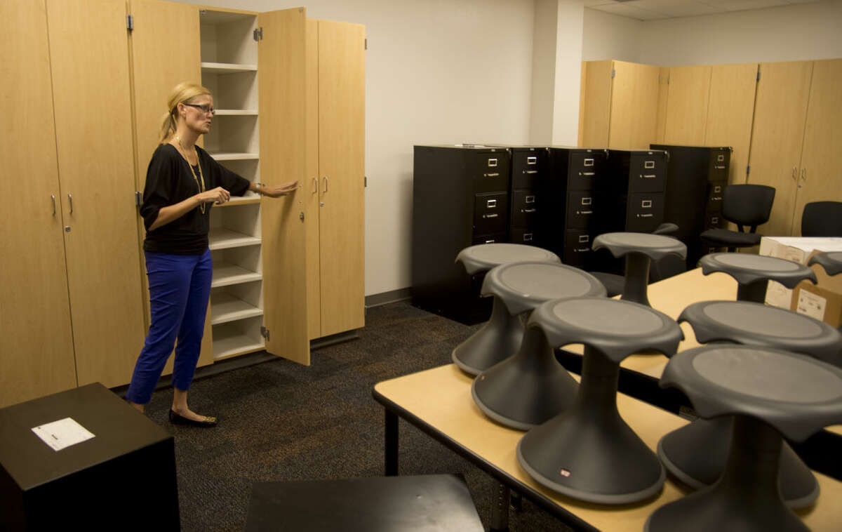 Bunche Elementary Principal Sha Burdsal shows off one of the teacher rooms Thursday 8-13-2015 with storage areas and space for planning meetings at Bunche Elementary. Tim Fischer\Reporter-Telegram