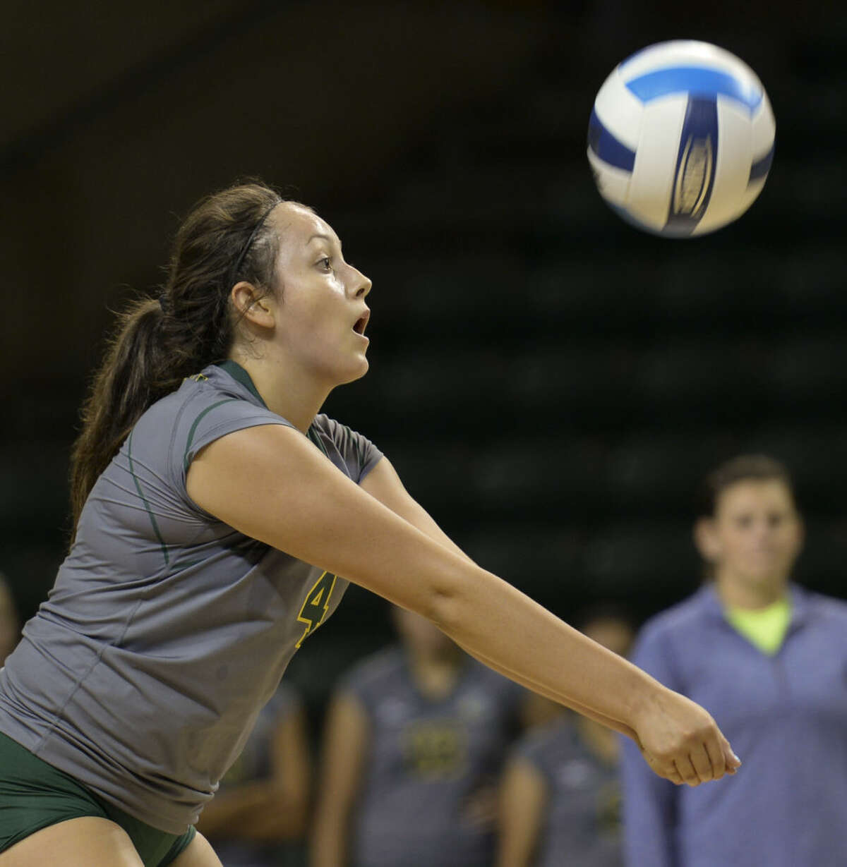 MIdland College's Aleana Crow sets up for a bump Friday 8-21-2015 in a match against Lee College in the Midland College Kickoff Classic at the Chaparral Center. Tim Fischer\Reporter-Telegram