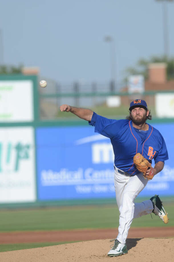 Rockhounds starting pitcher Chris Jensen throws a pitch against Northwest Arkansas on Friday at Security Bank Ballpark. James Durbin/Reporter-Telegram Photo: James Durbin