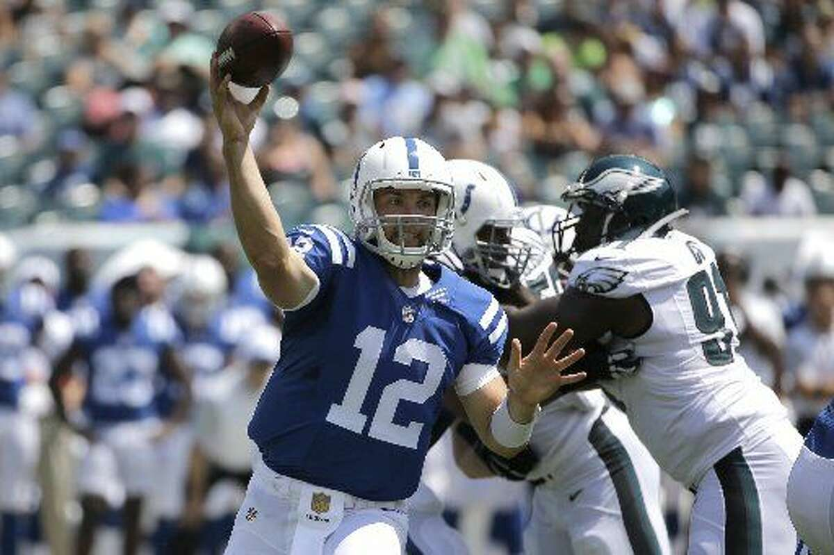 Indianapolis Colts' Andrew Luck looks to pass during the first half of a preseason NFL football game against the Philadelphia Eagles, Sunday, Aug. 16, 2015, in Philadelphia.