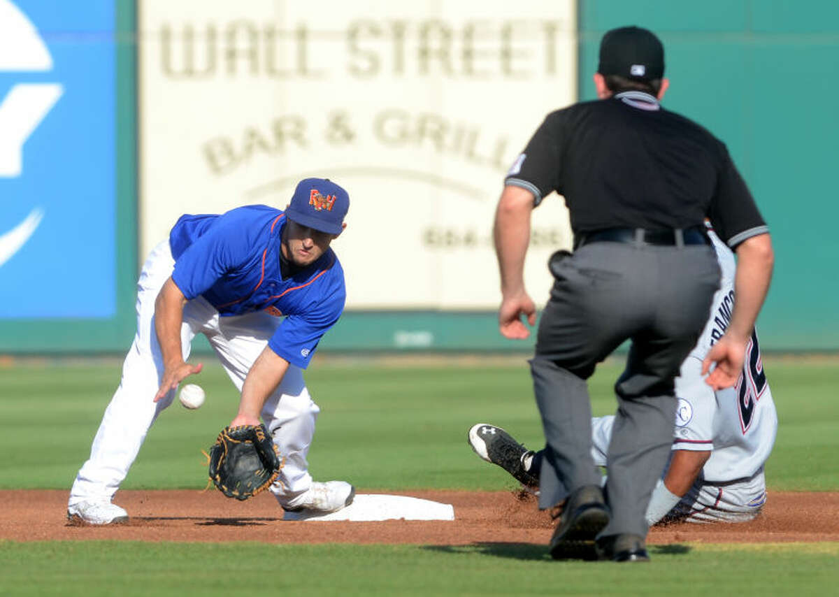 Rockhounds second baseman Conner Crumbliss can't beat the slide by Northwest Arkansas' Angel Franco on Friday at Security Bank Ballpark. Monday, Crumbliss had a great day at the plate with a two-RBI double. James Durbin/Reporter-Telegram