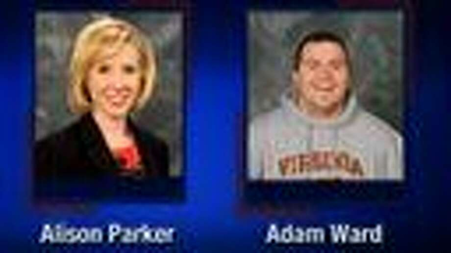 This screenshot from WDBJ-TV7, in Roanoke, Va., shows reporter Alison Parker and photographer Adam Ward. Parker and Ward were killed, Wednesday, Aug. 26, 2015, when a gunman opened fire during a live on-air interview in Moneta, Va. (Courtesy of WDBJ-TV7 via AP) Photo: Associated Press
