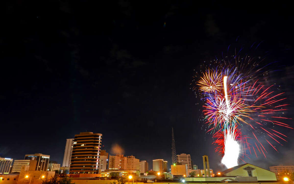 Downtown fireworks show viewed from the roof of the Midland Reporter-Telegram building. James Durbin/Reporter-Telegram