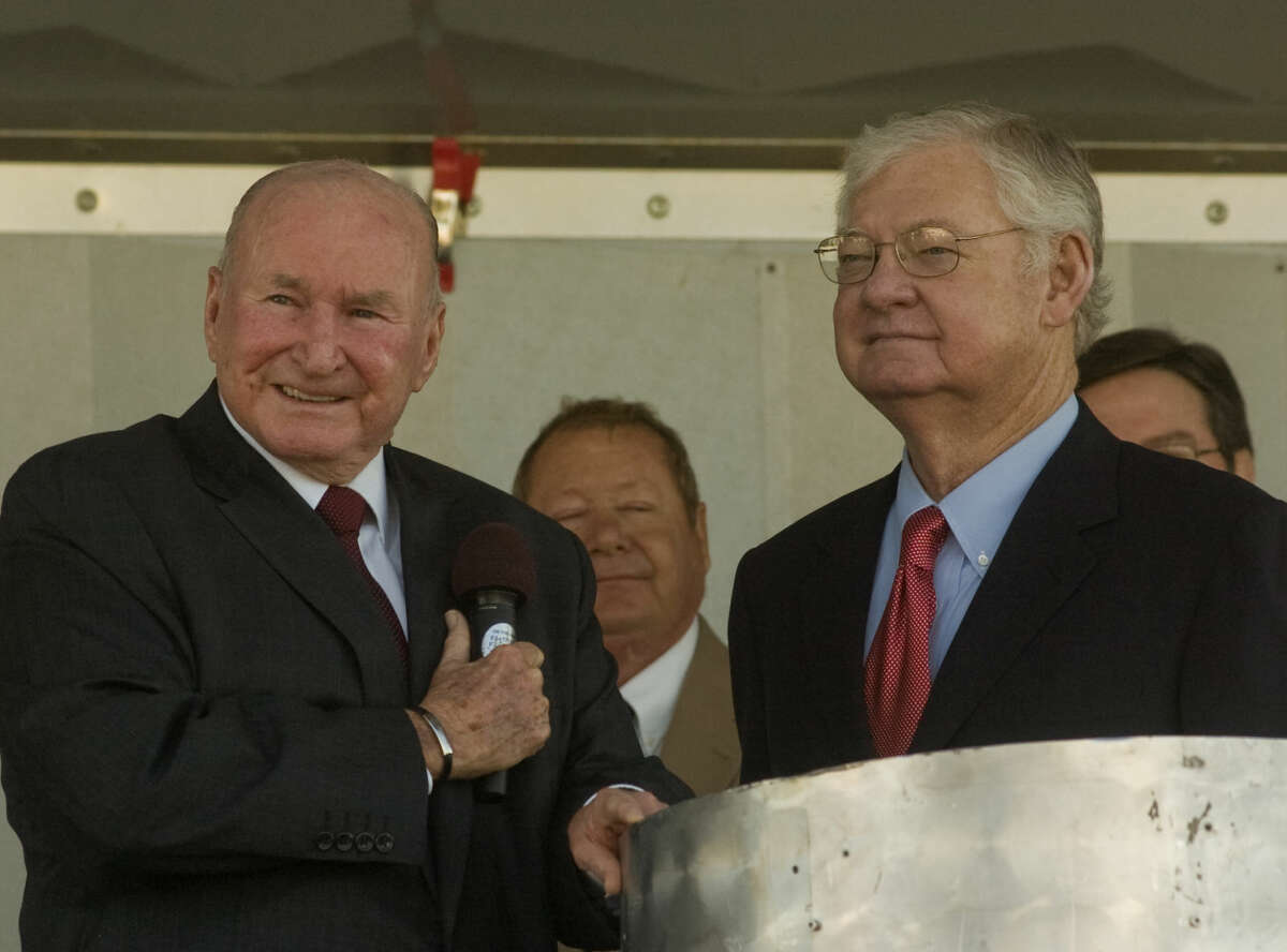 Jack Brown and Cy Wagner are seen here being honored as 2010 Oil Show Honorees to start the 2010 International Oil Show in Odessa. Brown passed away this week.
