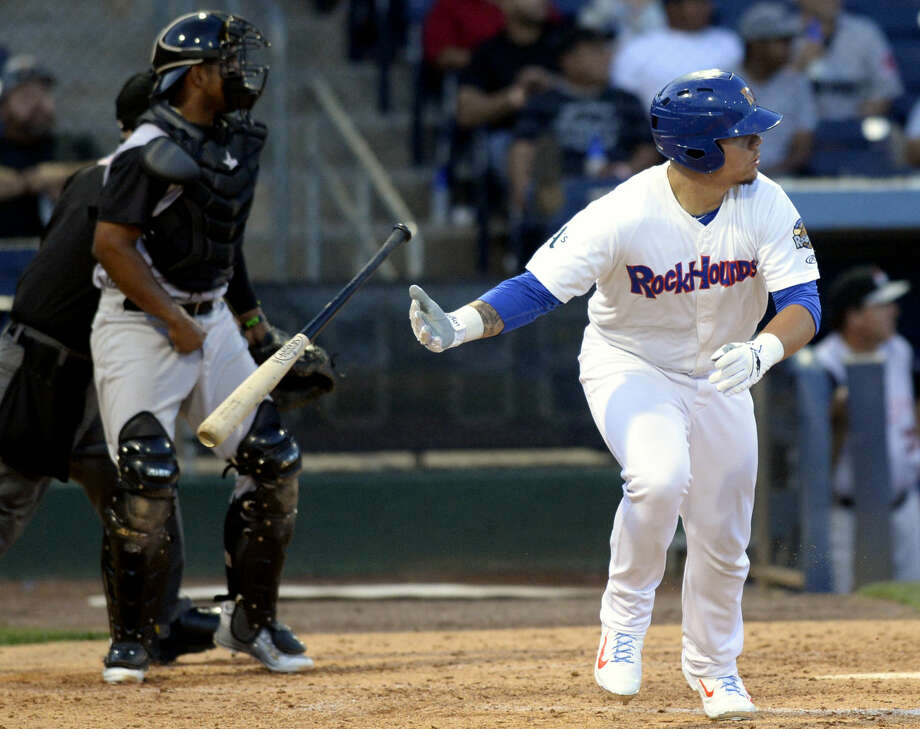 Rockhounds' Bruce Maxwell puts the ball in play against Arkansas on Thursday, July 2, 2015, at Security Bank Ballpark. James Durbin/Reporter-Telegram Photo: James Durbin