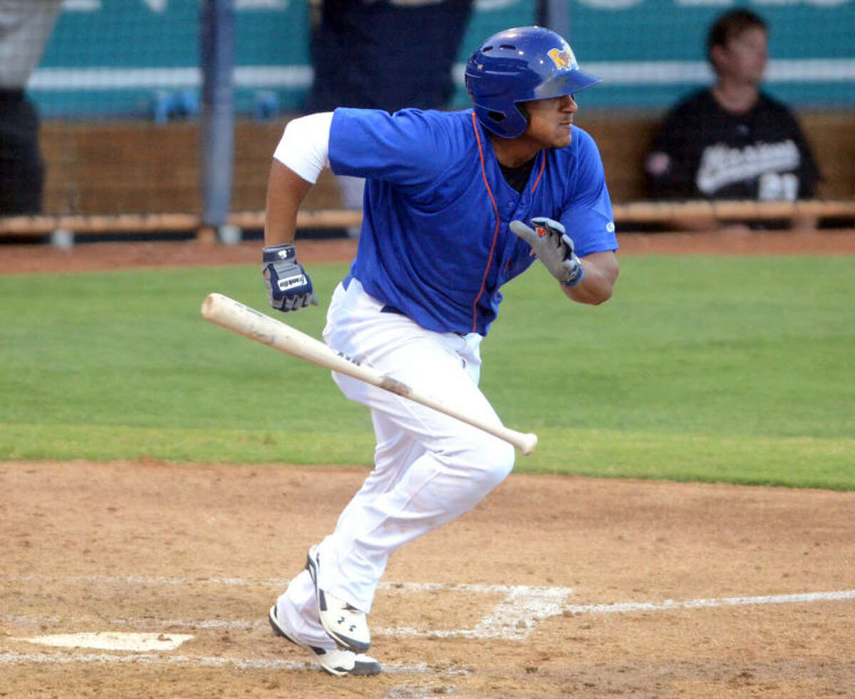 Rockhounds' Jefry Marte puts the ball in play against San Antonio July 9 at Security Bank Ballpark. James Durbin/Reporter-Telegram