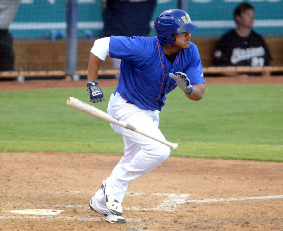 Rockhounds' Jefry Marte puts the ball in play against San Antonio July 9 at Security Bank Ballpark. James Durbin/Reporter-Telegram Photo: James Durbin