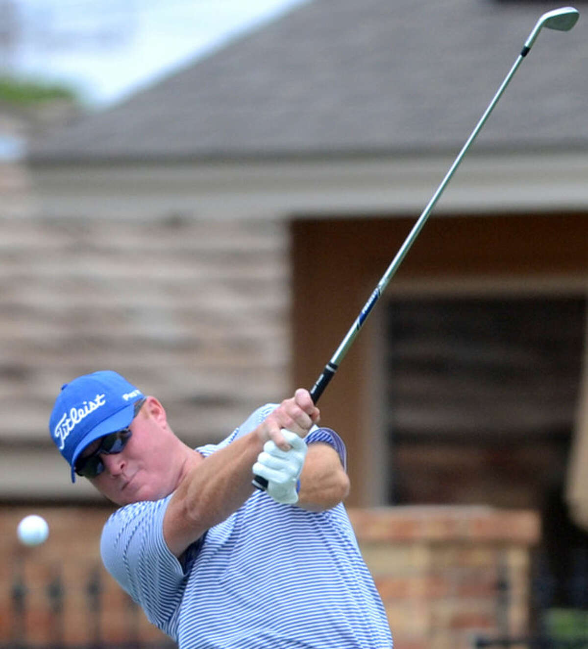 Shawn Reeves tees off during the Jamboree partnership tournament at Green Tree Country Club James Durbin/Reporter-Telegram