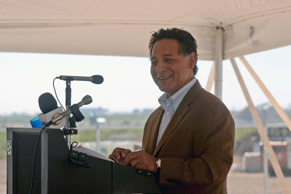 Jose Cuevas, president of the Midland County Fresh Water Supply District No. 1, speaks during the T-Bar ribbon cutting ceremony Friday at the elevated storage tank near 191 and 1788. James Durbin/Reporter-Telegram