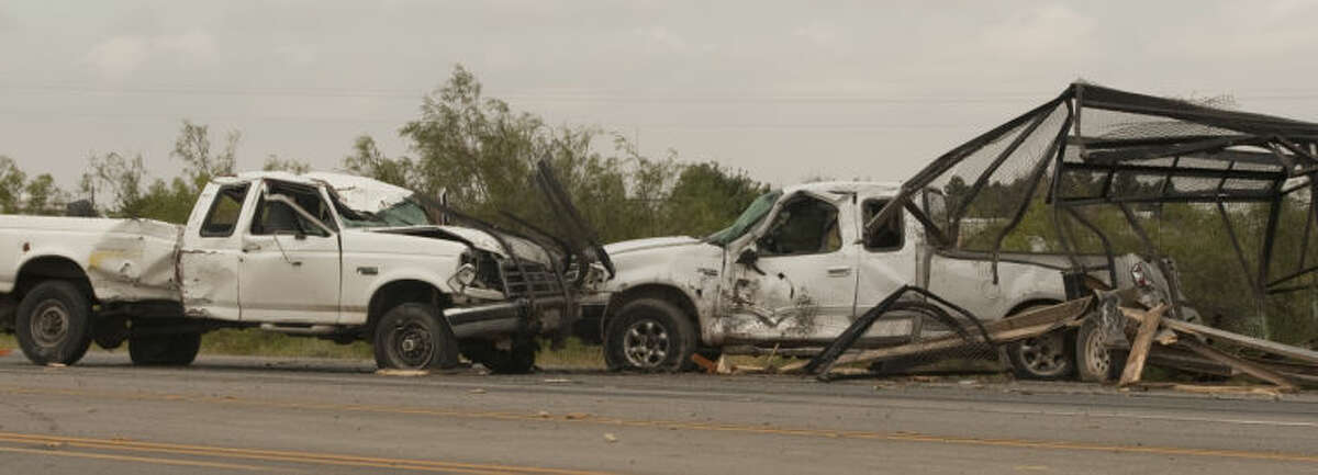 A two vehicle accident on Hwy 158 near CR 130 sent one person to the hospital Thursday afternoon. The truck with trailer was pulled over on the side of the road fixing a flat on the trailer when the second pickup slammed into and through the trailer. Tim Fischer\Reporter-Telegram