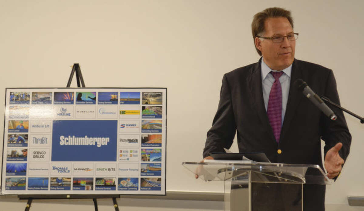 Schlumberger President of North America Robert Drummond speaks Wednesday at the grand opening of the new business campus for the Permian Basin. Tim Fischer\Reporter-Telegram