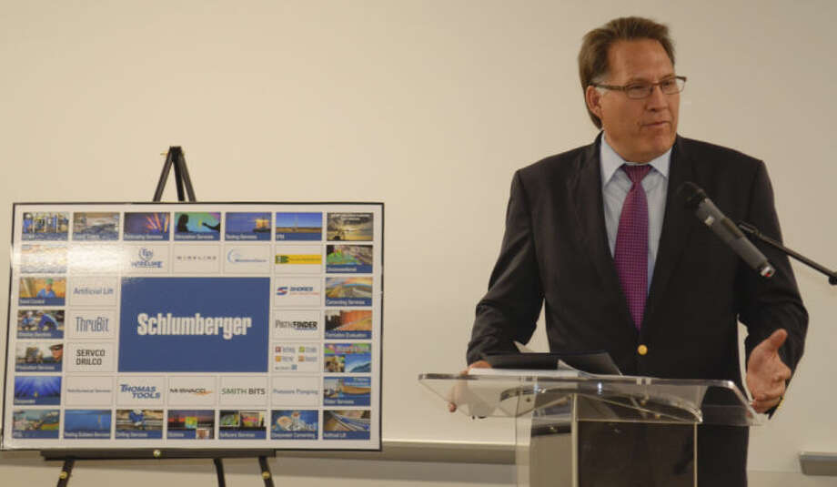 Schlumberger President of North America Robert Drummond speaks Wednesday at the grand opening of the new business campus for the Permian Basin. Tim Fischer\Reporter-Telegram Photo: Tim Fischer