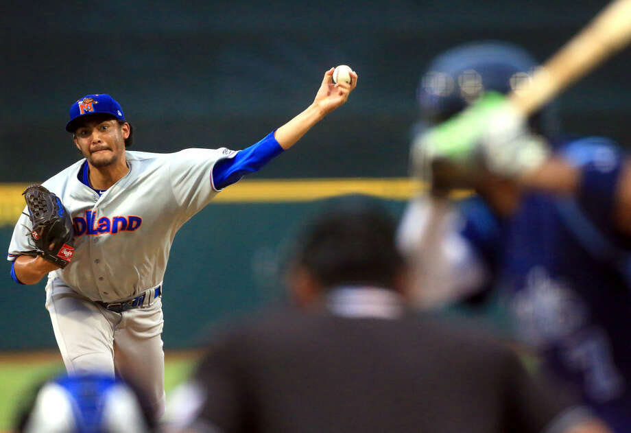 Midland RockHounds left-hander Sean Manaea pitches against the Corpus Christi Hooks on Thursday Sept. 10, 2015 at Whataburger Field in Corpus Christi. Photo: Gabe Hernandez | Corpus Christi Caller-Times