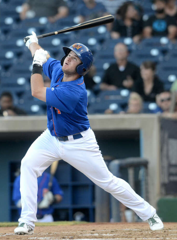 Rockhounds Max Muncy hits against Northwest Arkansas on June 27 at Security Bank Ballpark. James Durbin/Reporter-Telegram Photo: James Durbin