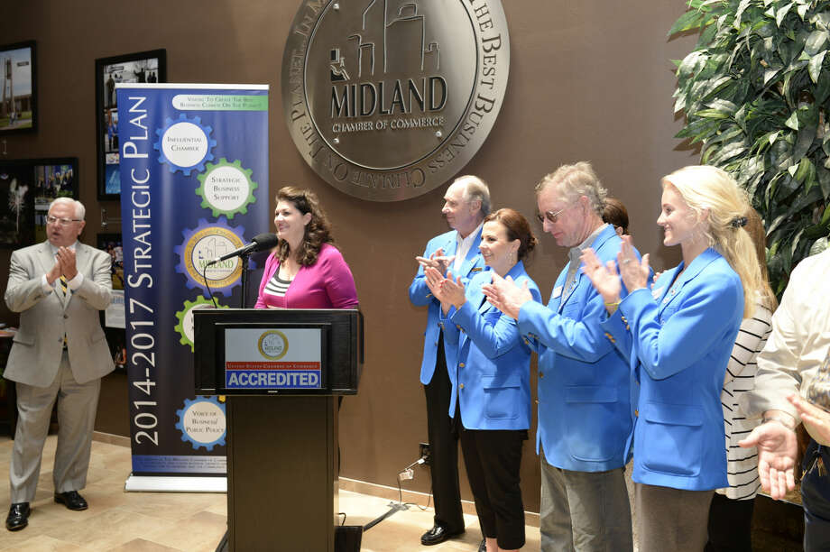 Midland Chamber of Commerce chairman Laura Roman speaks during a press conference Tuesday, July 7, 2015 in the Chamber offices to share the news that the Chamber was nationally accredited. James Durbin/Reporter-Telegram Photo: James Durbin