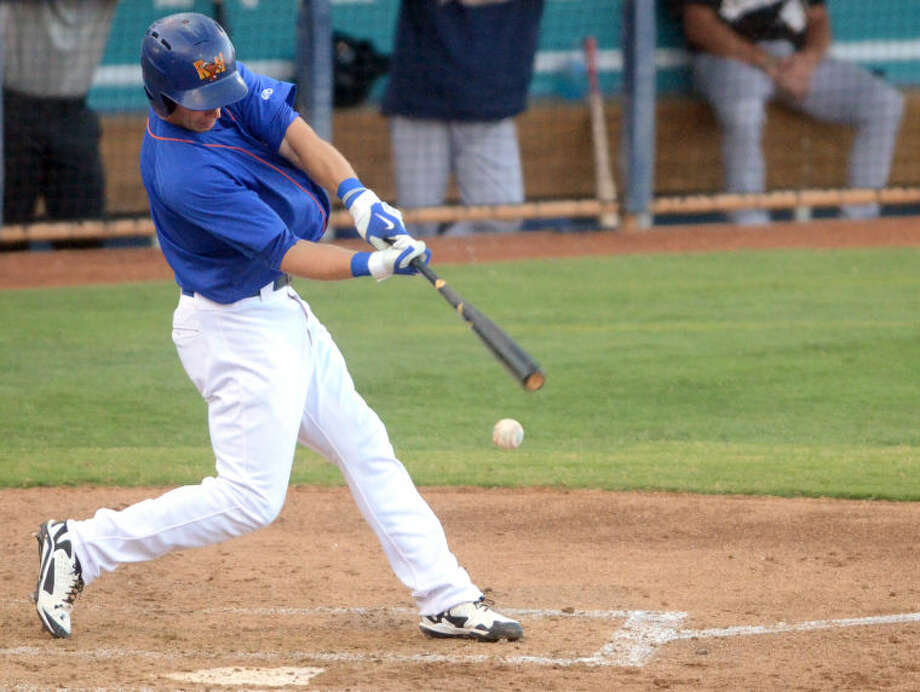Rockhounds' Dusty Coleman swings against San Antonio on July 9 at Security Bank Ballpark. James Durbin/Reporter-Telegram Photo: James Durbin