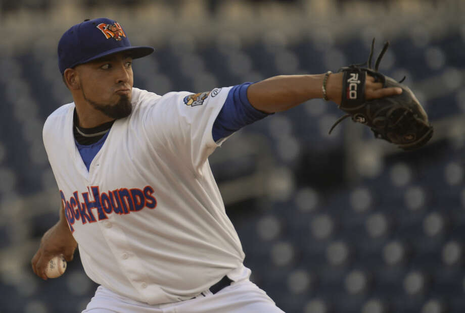 RockHounds starting pitcher Jake Sanchez delivers a pitch Saturday 9-12-2015 in game three against the Corpus Christi Hooks. Tim Fischer\Reporter-Telegram Photo: Tim Fischer