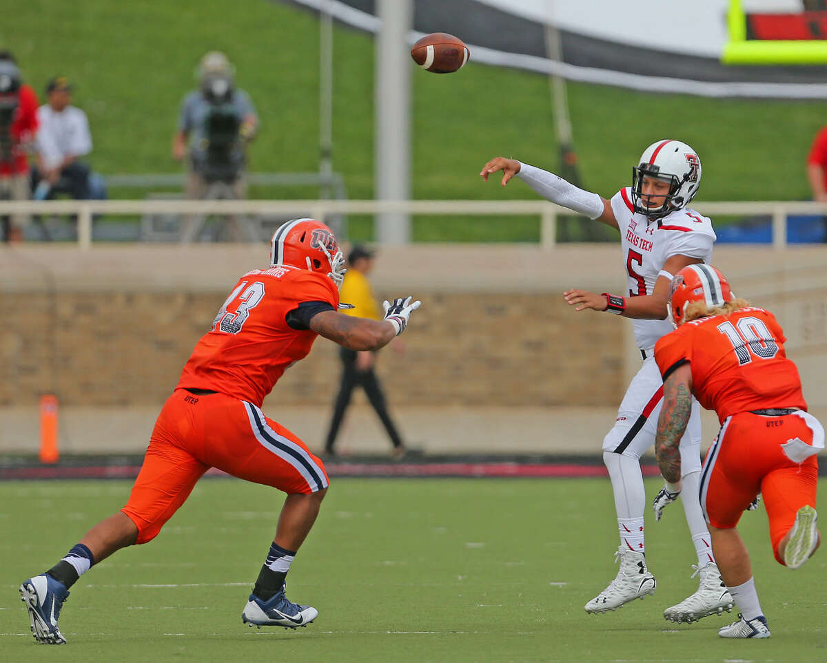 Texas Tech quarterback Patrick Mahomes unleashes a pass in Saturday's game with the UTEP Miners.