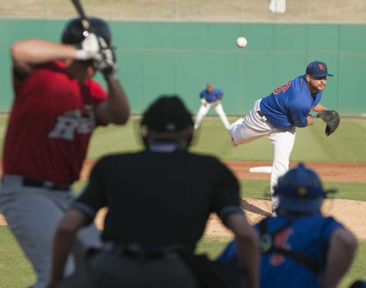 RockHounds' starting pitcher Nate Long delivers a pitch to RoughRiders' J.T. Wise earlier this season. Wednesday, Long allowed six runs in a 7-3 loss to Frisco. Tim Fischer\Reporter-Telegram