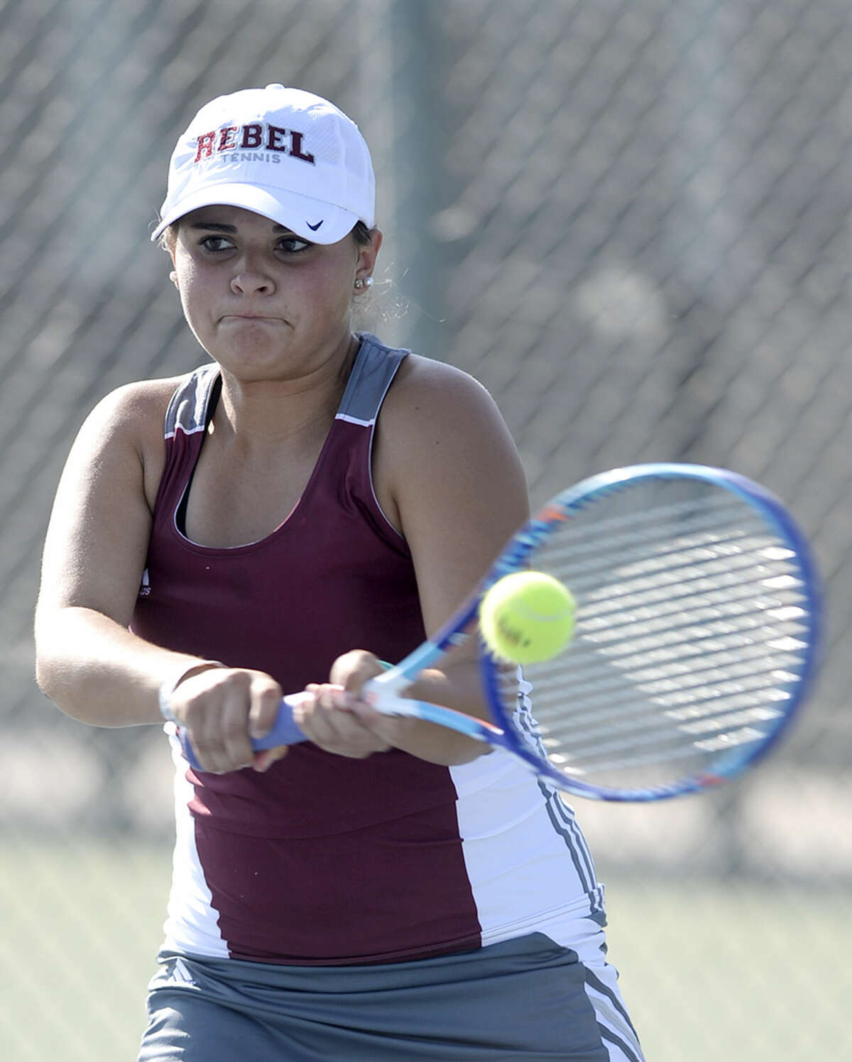 Lee's Celie Clark competes in a doubles match against Odessa High on Tuesday, Sept. 15, 2015 at Bush Tennis Center. James Durbin/Reporter-Telegram