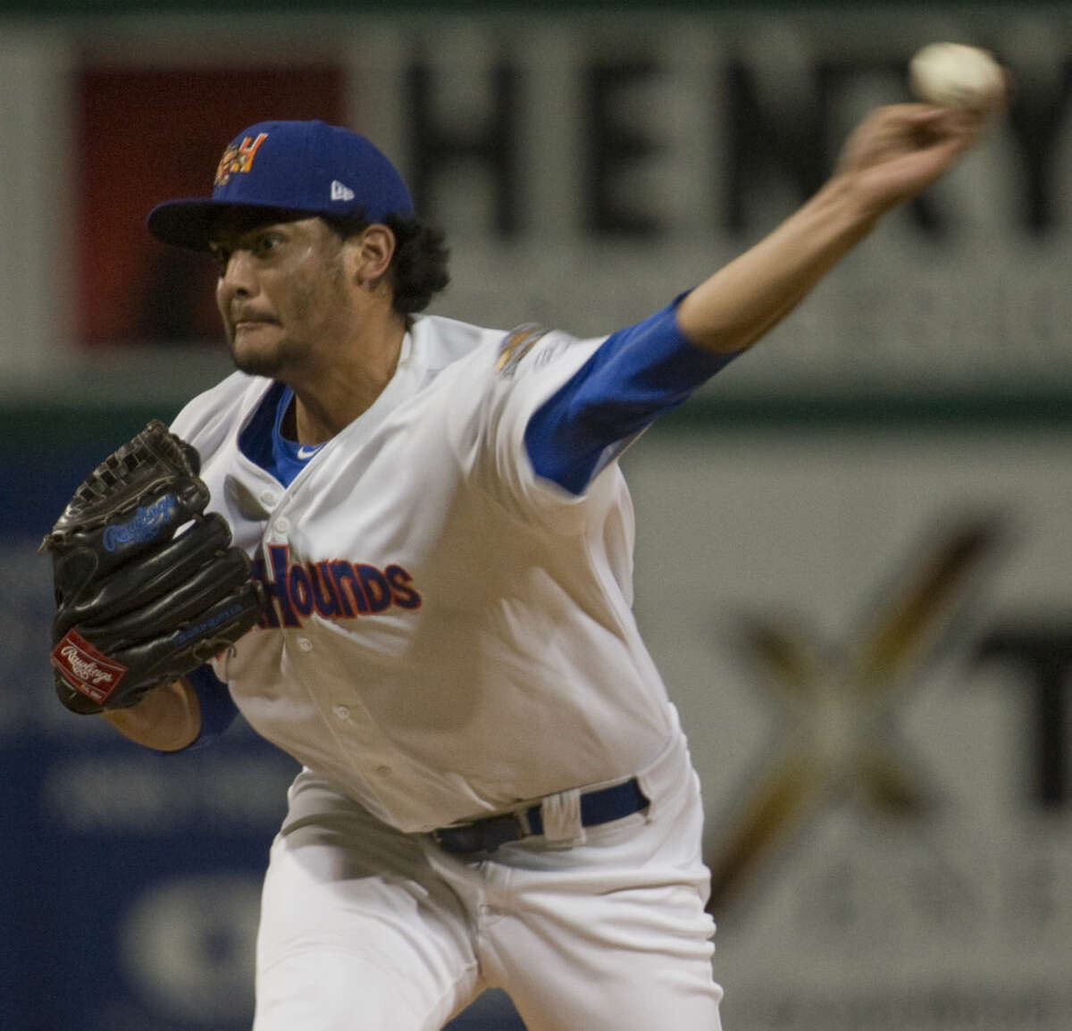 Hounds' starting pitcher, Sean Manaea gets the win Tuesday 9-15-2015 5-2 pitching 8 full innings to take the first game in the TLCS against Arkansas Naturals. Tim Fischer\Reporter-Telegram