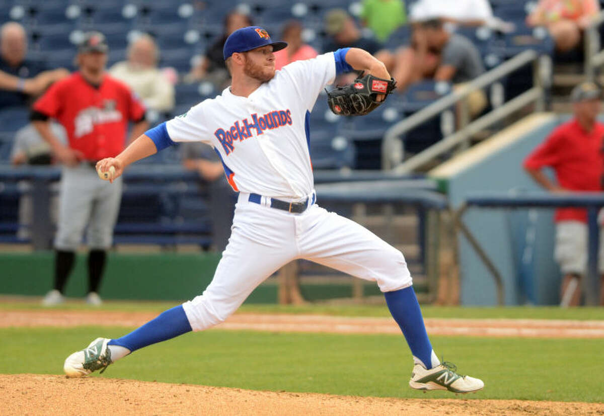 Rockhounds pitcher Ryan Doolittle throws against the Frisco RoughRiders Tuesday at Security Bank Ballpark. Doolittle earned the win in the RockHounds first game of a doubleheader against the RoughRiders. James Durbin/Reporter-Telegram