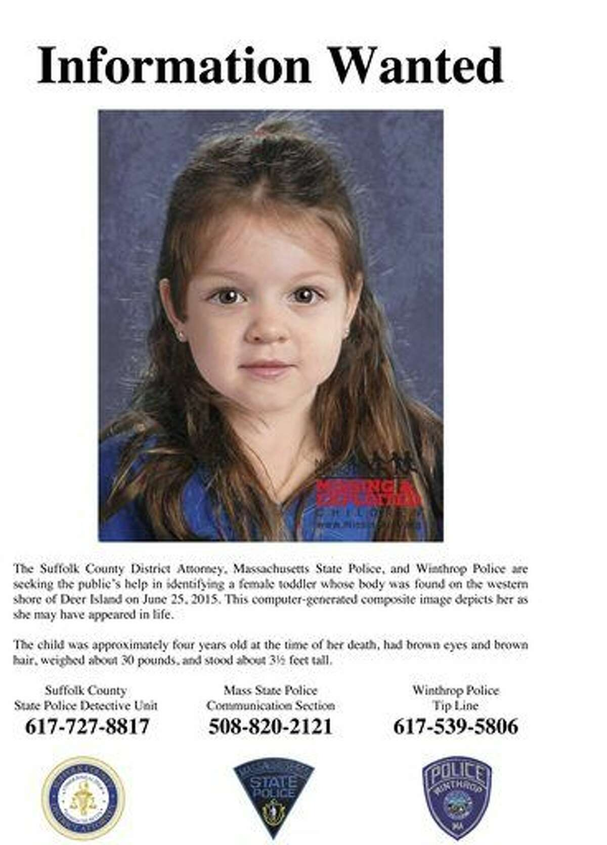 FILE - This undated flyer released Thursday, July 9, 2015, by the Suffolk County Massachusetts District Attorney includes a computer-generated composite image depicting the possible likeness of a young girl whose body was found on the shore of Deer Island in Boston Harbor on June 25, 2015. A law enforcement official told The Associated Press Friday, Sept. 18, 2015, that authorities have identified the little girl. (Suffolk County District Attorney via AP, File)