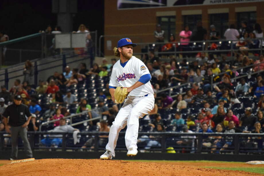 Midland RockHounds reliever Brendan McCurry delivers a pitch in this updated photograph. Photo: Frank Longobardo   Midland RockHounds